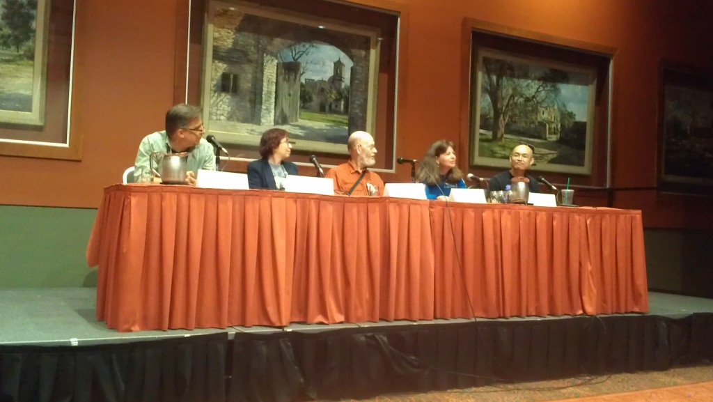 """""""Science, Space Exploration, and Speculative Fiction Collide""""  Panel with Mrco Palmieri, Ann VanderMeer, Stanley Schmidt, John Chu, and astronaut Cady Coleman."""