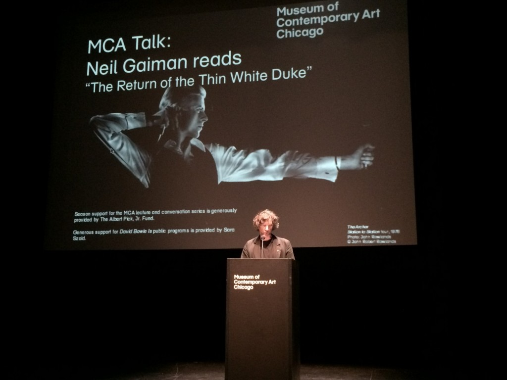 "Neil Gaiman reading from ""The Thin White Duke"" at the Museum of Contemporary Art in Chicago, on the closing of the David Bowie Is exhibit."
