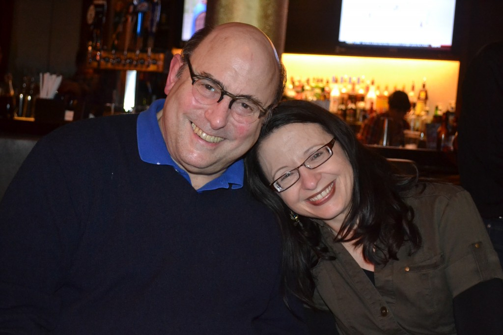 Bespectacled with Peter Straub. (Photo by Ellen Datlow)